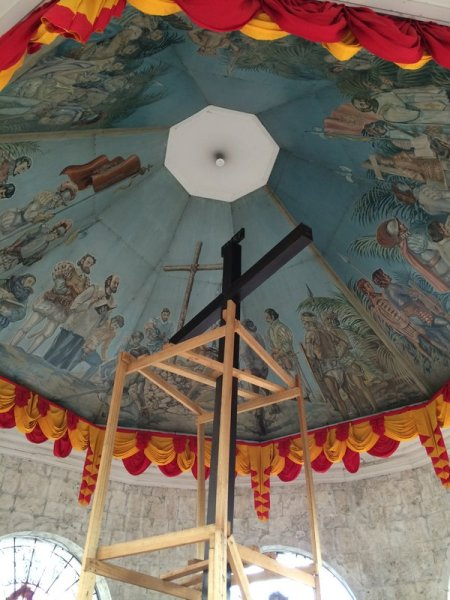 Magellan's Cross and the murals on the shrine