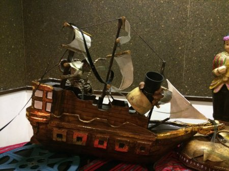 A miniature galleon art piece on exhibit at the Asian premiere of Balikbayan #1
