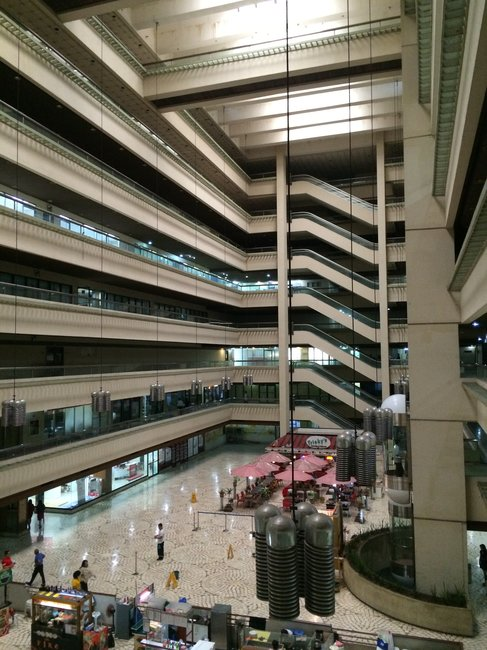 The space inside The Atrium in Makati City, its own atrium, is cavernous.