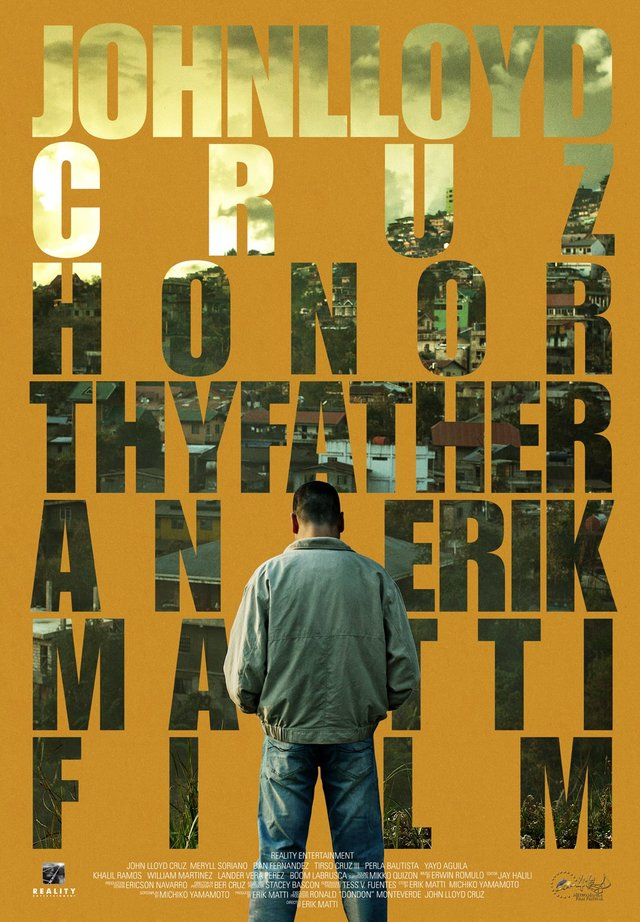 Theatrical release poster for Honor Thy Father (2015), featuring John Lloyd Cruz facing away, and the Baguio City skyline.