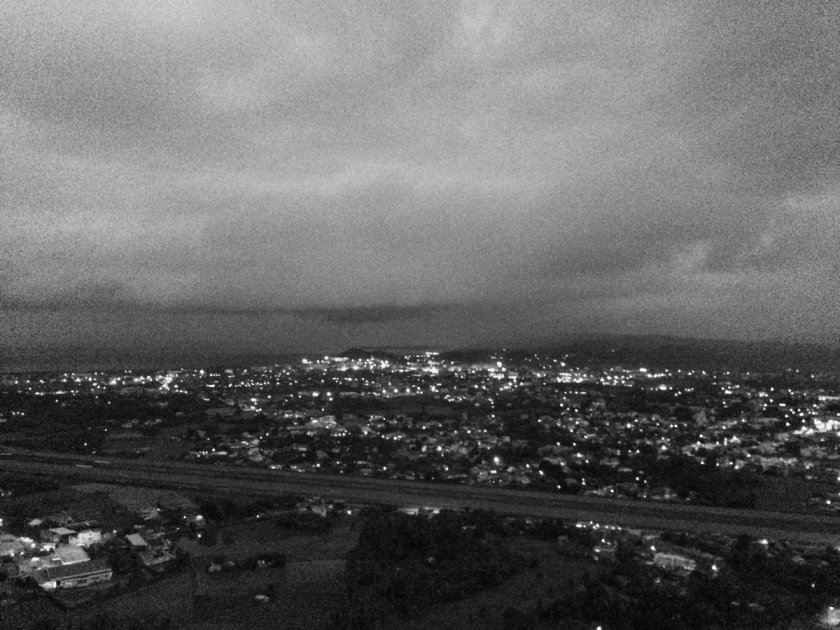 Evening view of Legazpi city from Ligñon Hill, showing the city's lights.