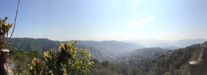A panorama of the morning sun and landscape as seen from Mines View Park in Baguio City.