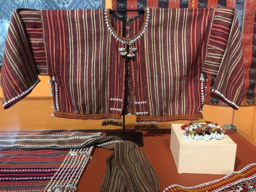 Samples of Gaddang textiles on display at Taoid Museum, showing beads and typical patterns.