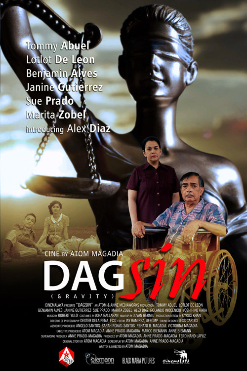Official poster for the film Dagsin (2016), showing a statue symbolizing justice, and the film's actors.