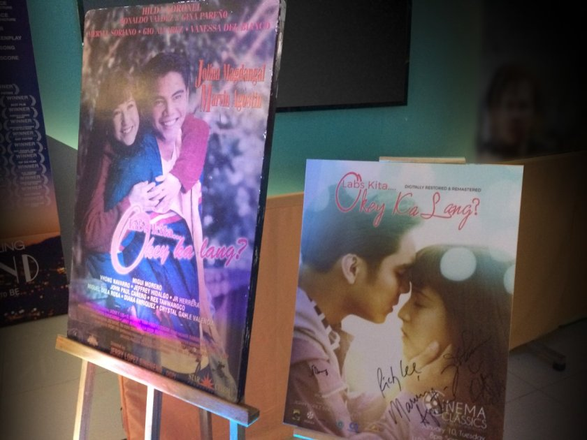"""Labs Kita, Okey Ka Lang?"" original movie poster, and the restoration version, on display at the premiere."