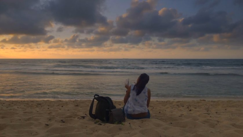 Alessandra de Rossi on a beach at sunset in the film Sakaling Hindi Makarating (2016).