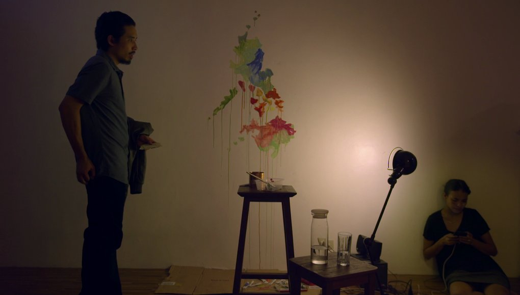 Pepe Herrera as Paul and Alessandra de Rossi as Cielo, under a wall painting of a Philippine map, in 'Sakaling Hindi Makarating'.
