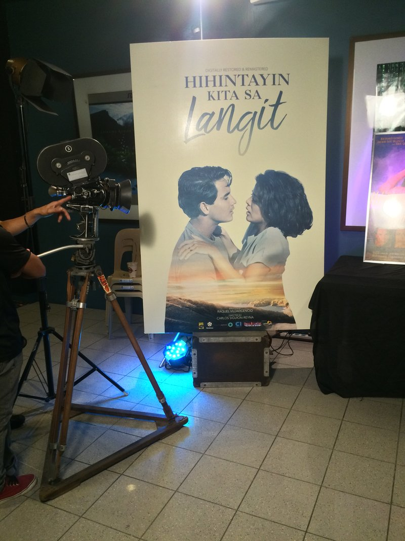 The new poster for the 2017 restoration of 'Hihintayin Kita Sa Langit', on display at the Glorietta cinema lobby during the premiere.