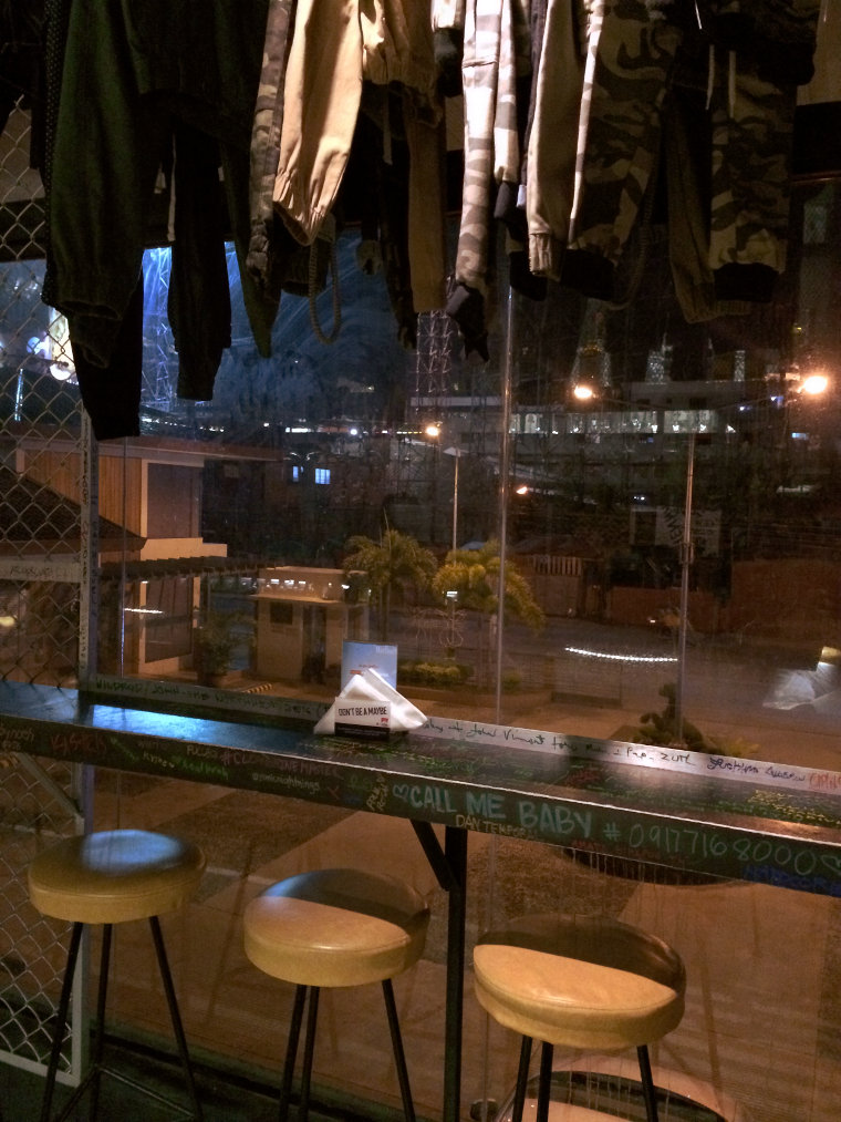 Night-time view looking outside from Stre3ts Urban Lifestyle Pub.
