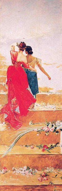 Juan Luna's 'España y Filipinas': a woman in a red dress, representing Spain, points the way for a dark-skinned woman, representing the Philippines.