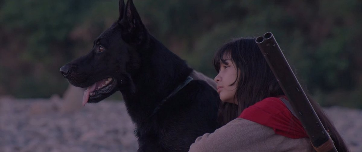 Mary Joy Apostol as Maya, watching the sunset with her dog Bala, in 'Birdshot'.