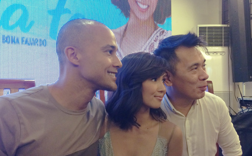 Will Devaughn, Roxanne Barcelo, and director Bona Fajardo smile for cameras at the media conference for 'I Found My Heart in Santa Fe'.