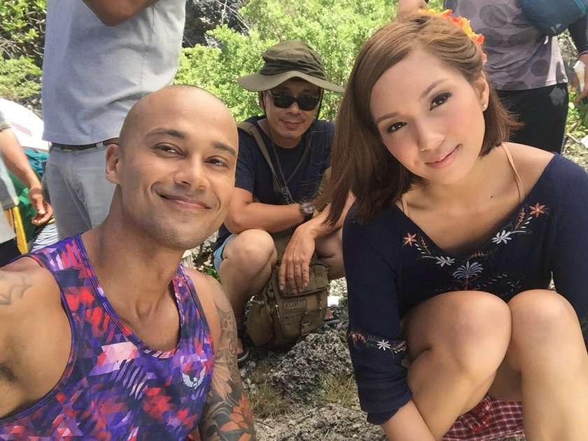 Will Devaughn, director Bona Fajardo, and Roxanne Barcelo on the set of 'I Found My Heart in Santa Fe'.