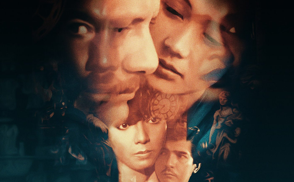 Detail from the poster (by Justin Besana) for the digitally restored version of 'Karma' (1981) showing six of the cast's faces, four of them blended together.