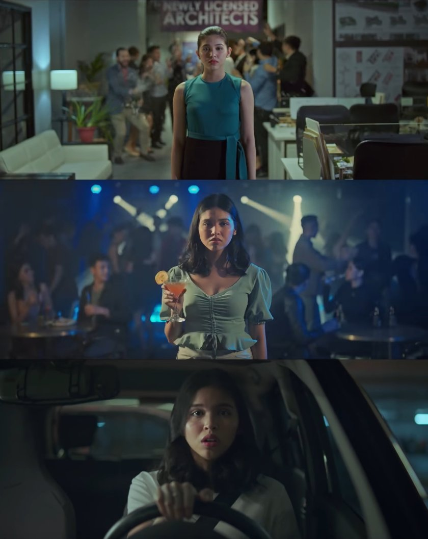Three frames from 'Isa Pa, With Feelings' (2019), showing Maine Mendoza as Mara in three different settings, but with only her in focus, and in the middle of the frame.