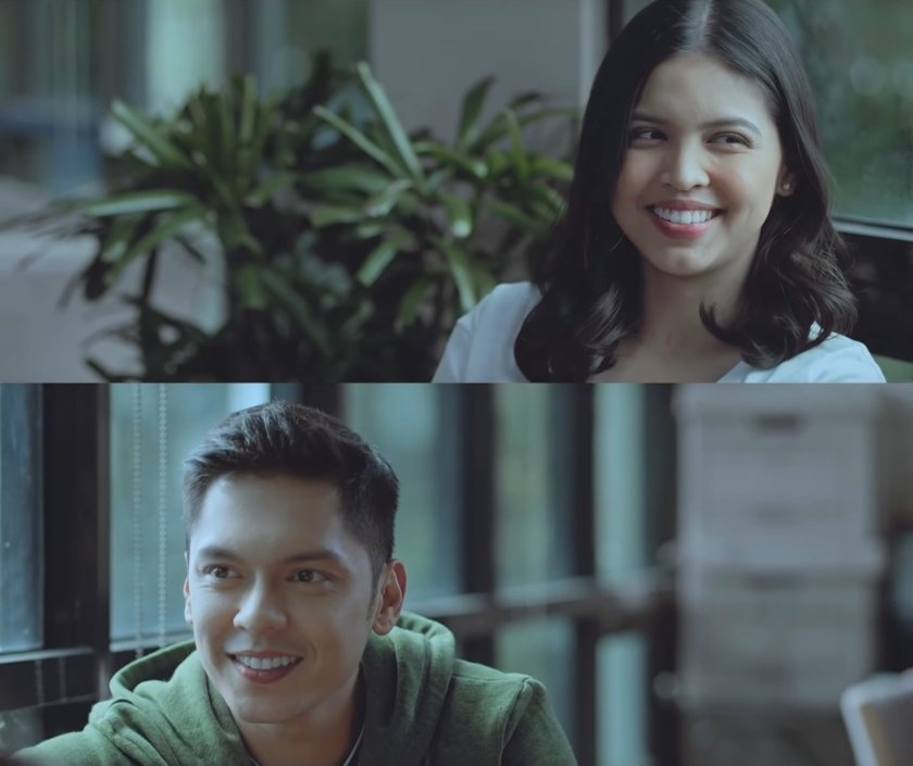 Two frames from 'Isa Pa, With Feelings' (2019), demonstrating short-side framing: the actors are looking towards the edge of the frame closer to them.